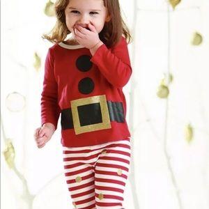 Mud Pie Christmas Glitter Santa Pajamas